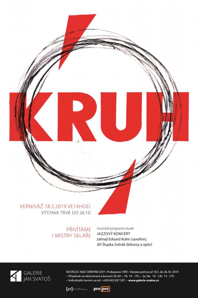 Pozvánka / plakát s vyobrazením kresleného kruhu uhlem, jenž svým geometrickým tvarem odkazuje ke keramice, sklu i dalším kulatým prvkům.
